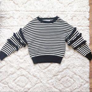 Blogger Sweater Black White Striped Ruffle Sleeve